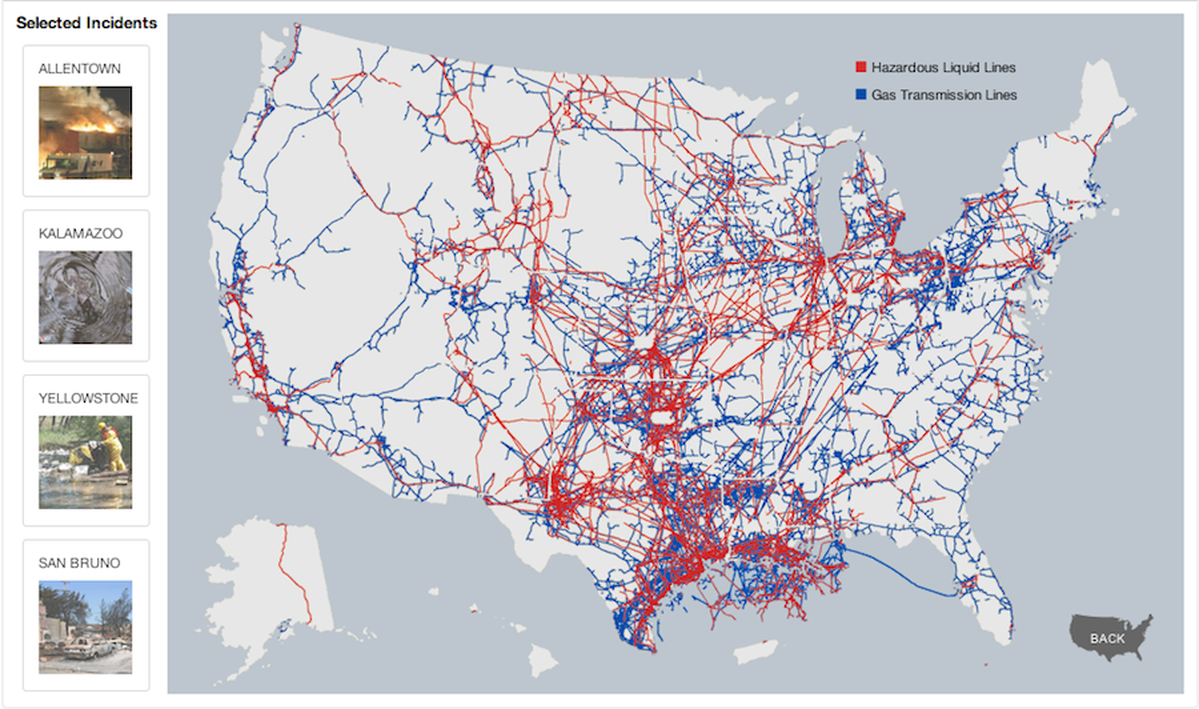 The Making Of ProPublicas Pipeline Safety Feature Features - Gas transmission and hazardous liquid pipelines in the us map