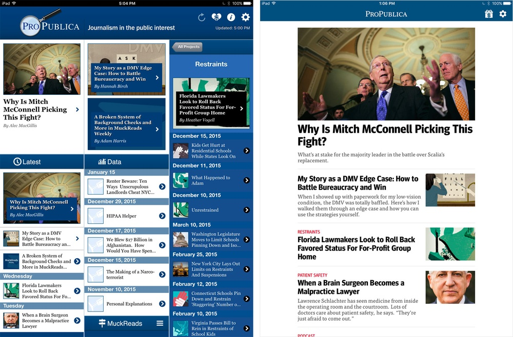 How We Built the New ProPublica Mobile Apps - Features - Source: An
