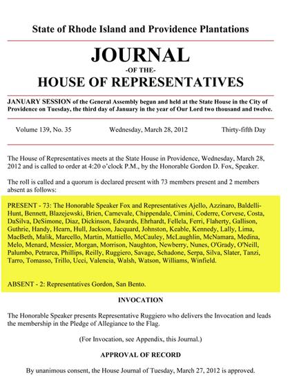 Rhode Island General Assembly Legislators