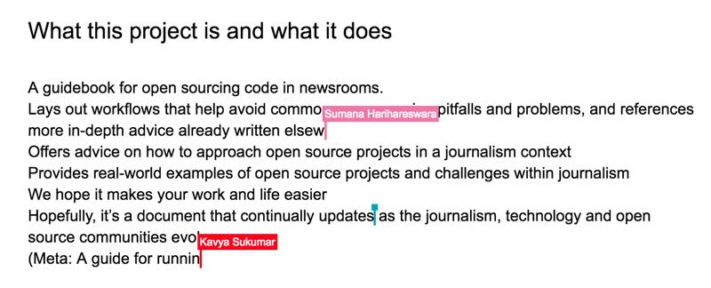 Screenshot from collaborative Google Doc