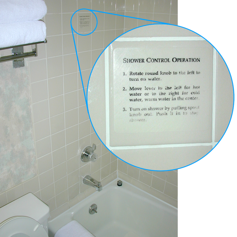 Photo of shower with instructions