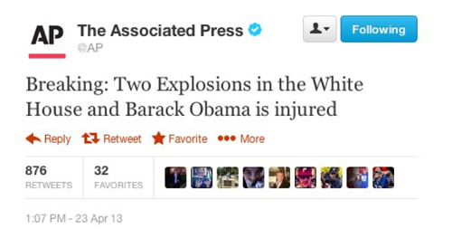 Tweet contents: Breaking: Two Explosions in the White House and Barack Obama is injured