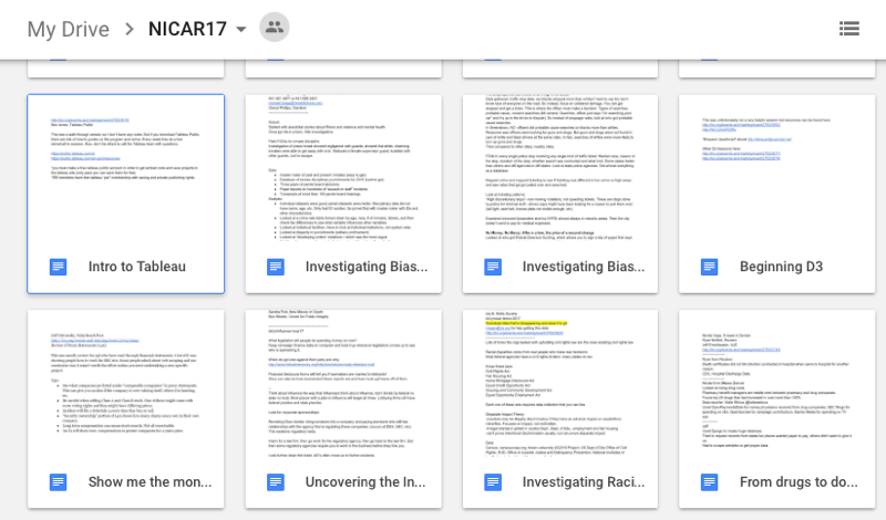 Screenshot of Google Drive with notes