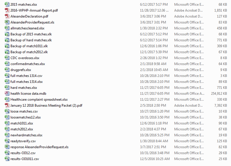 Screen shot of list of files