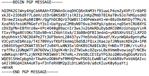 Image of encrypted message