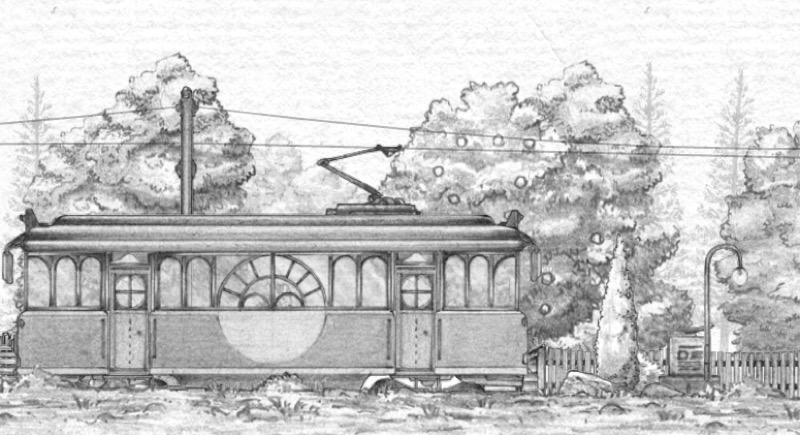 Illustration of trolley car and landscape