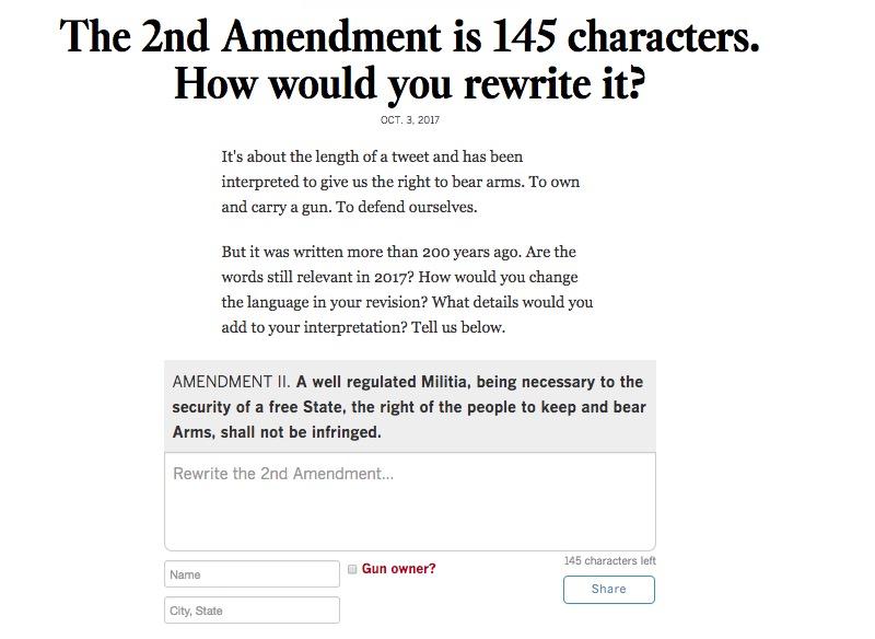 Screenshot of form asking for reader input