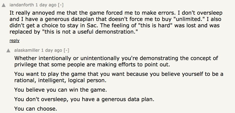 Screenshot from discussion on Hacker News