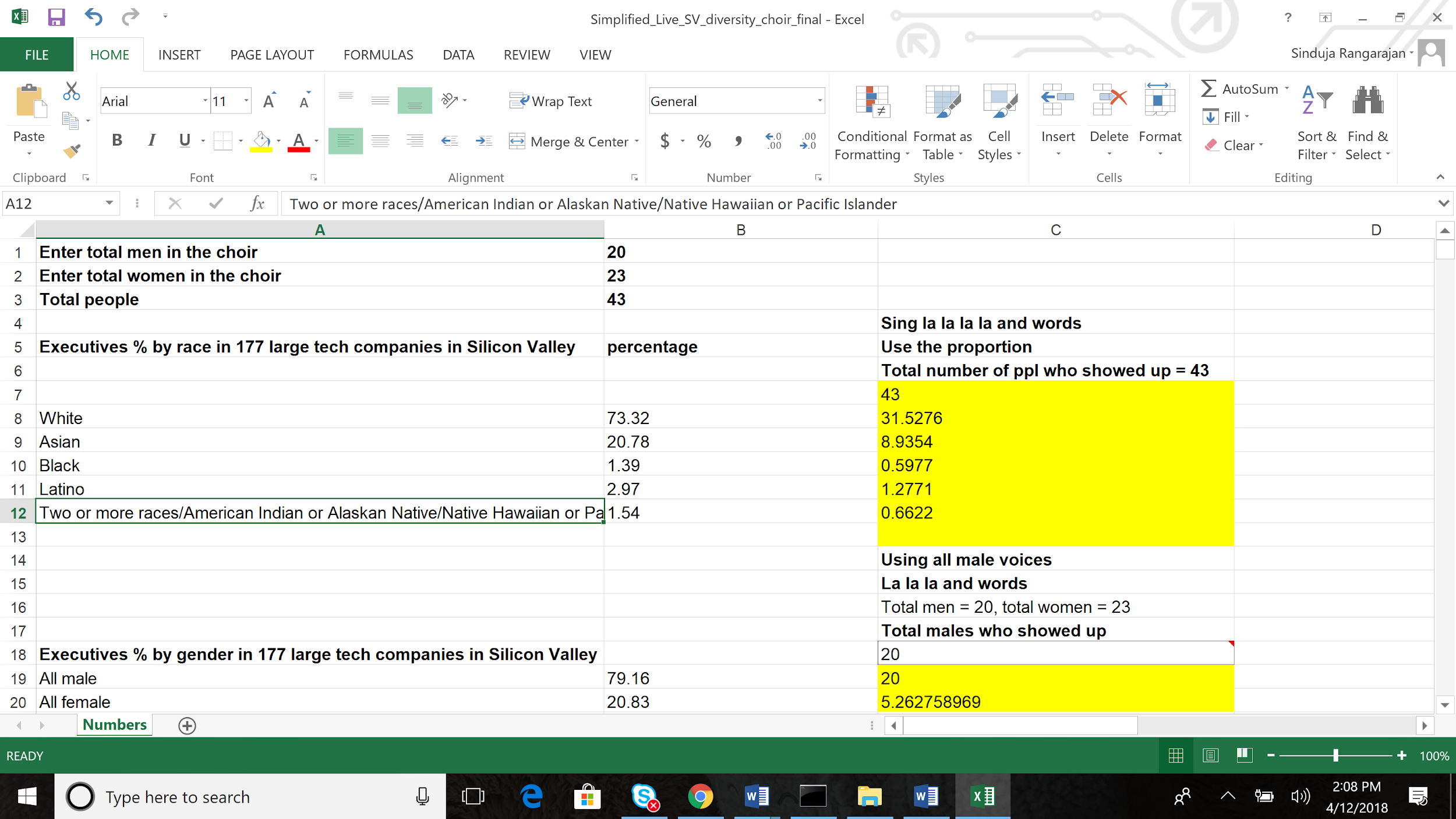 Screenshot of spreadsheet