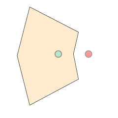Illustration of point in polygon approach