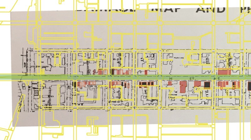 Map overlayed with yellow lines