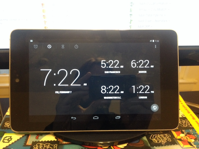 Get yourself a nice multi-timezone clock. It's invaluable and looks cool. The Nexus 7's clock works great for this.