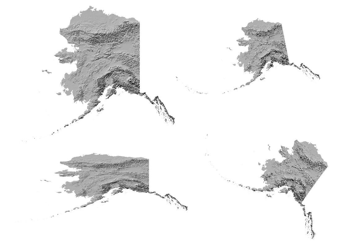 Alaska in several projections