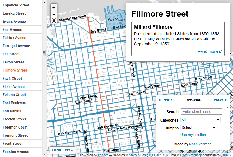 Screencap of the map with a street-list sidebar