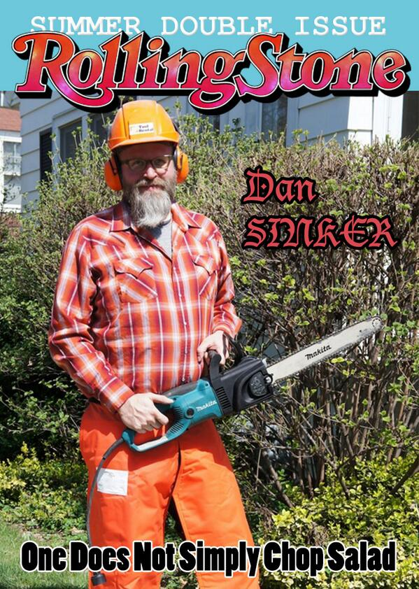 Dan Sinker with chainsaw