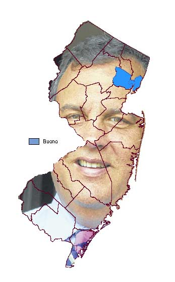 Map with Chris Christie's face as background