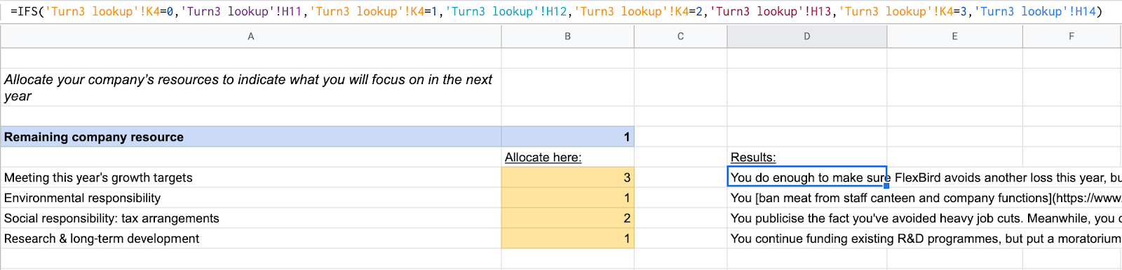 A screenshot of a spreadsheet showing game logic