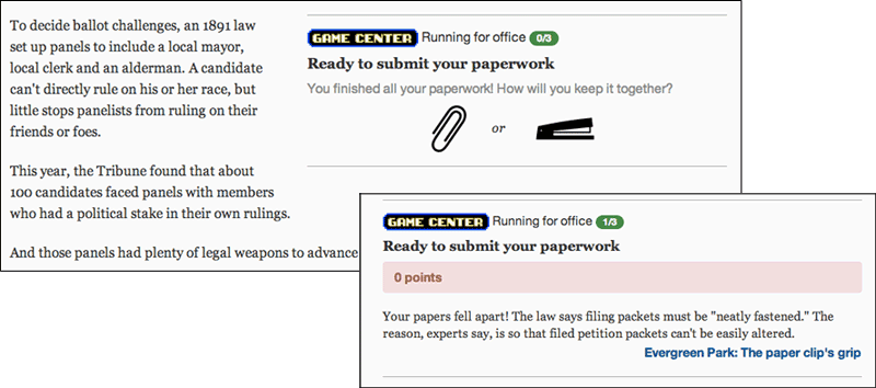 A screenshot from the Tribune's entry