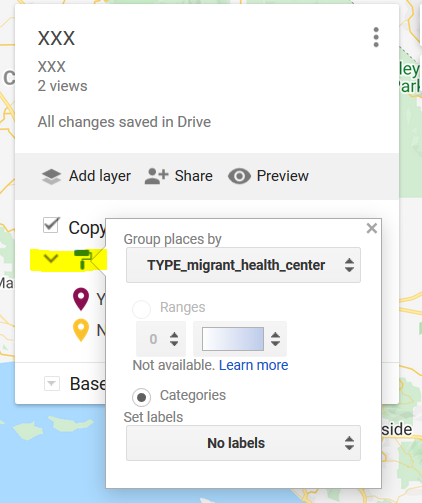 a screenshot showing where to group places by category on your map