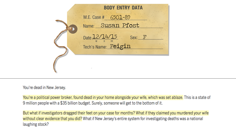 Two screenshots, one of a toe tag with information on a person named Susan, and another of highlighted text.