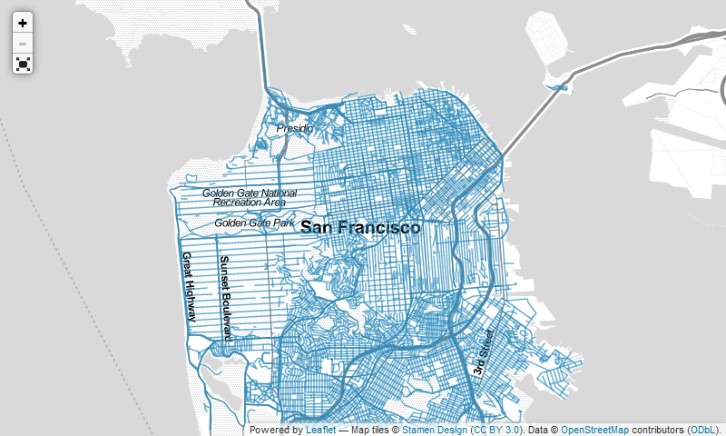 Map of San Francisco with a whole lot of lines on it