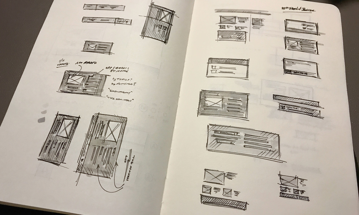 photo of sketchbook with design modules taking shape