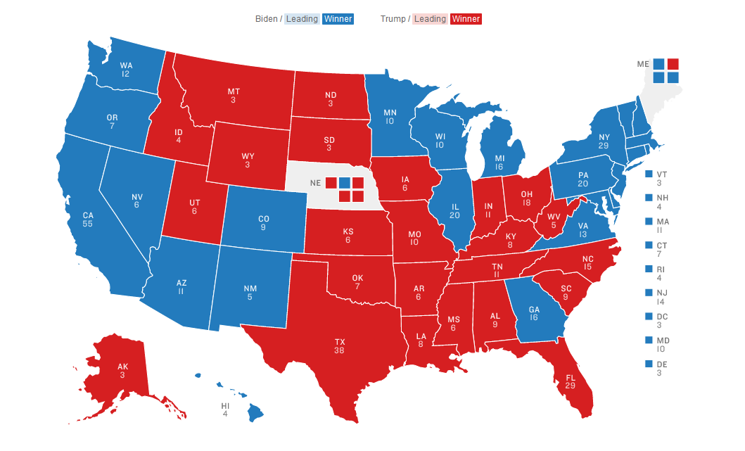 A traditional geographic map of the United States from NPR that shows voting results from the 2020 presidental election