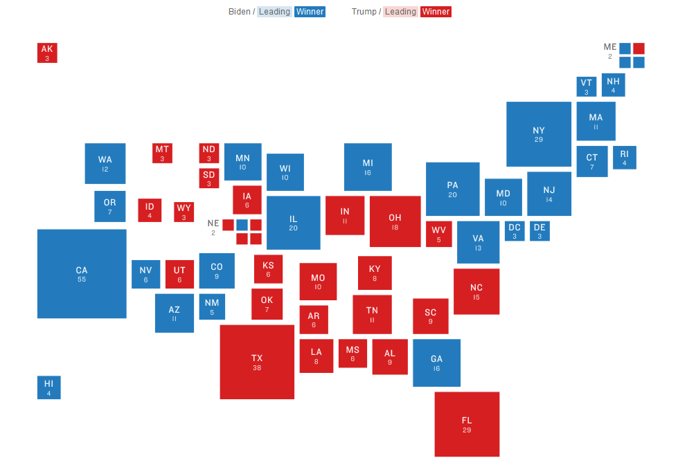 A cartogram from NPR that shows voting results from the 2020 U.S. presidental election