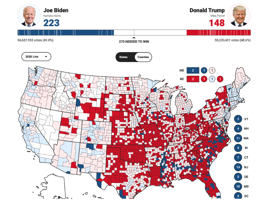 A geographic map of the United States from Fox News, showing county-by-county results from the 2020 presidential election