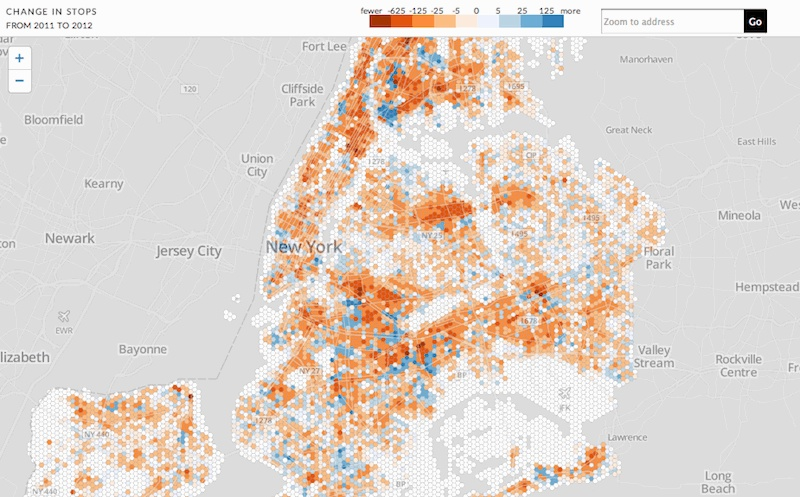 Hex binned stop and frisk map from WNYC