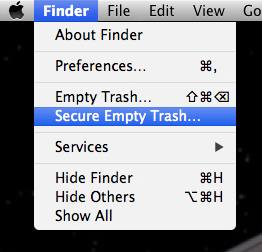 secure empty trash