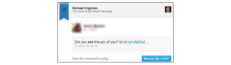 Twitter phishing message