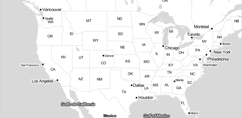Screencap of the blank map of the US, ready for reader input