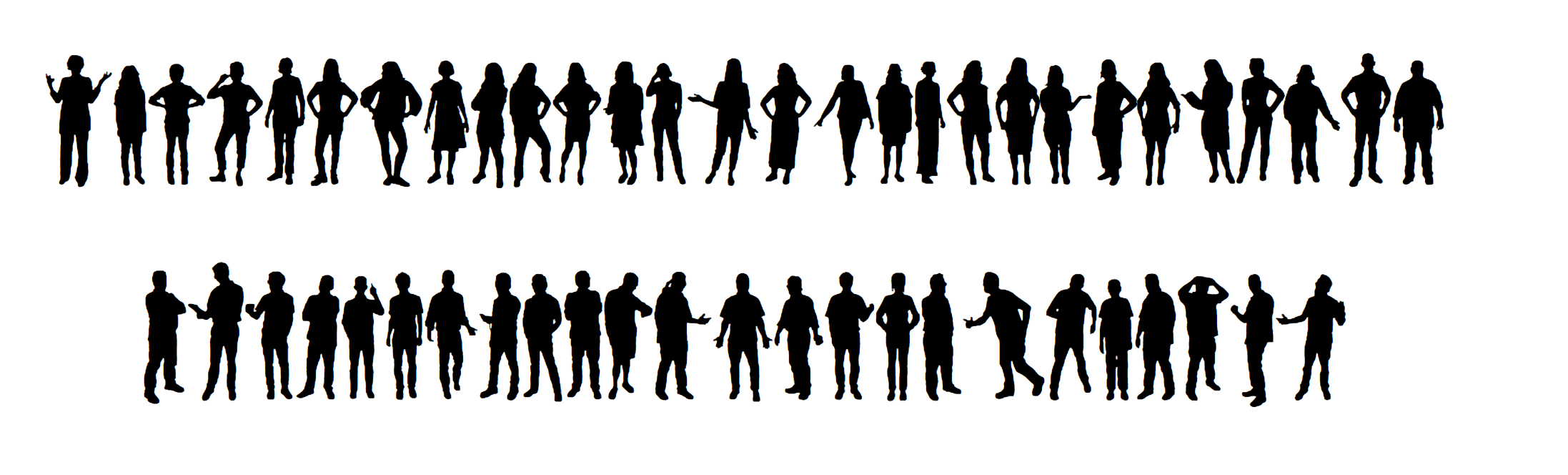 selection of silhouettes of people