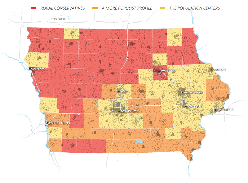 county-by-county analysis of Iowa caucus voters
